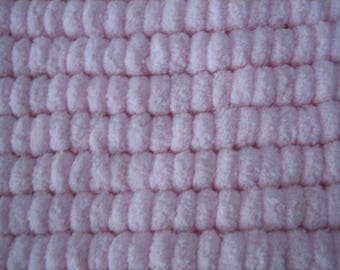 Lined baby blanket handmade - tassels - light pink