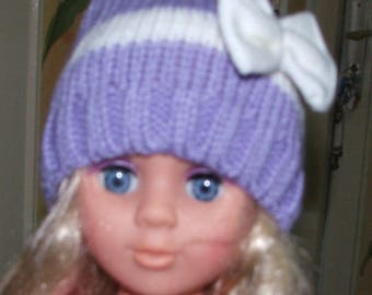 Woolen Hat baby white purple/white bow - 0/2 years