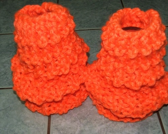 Pair of Leggings or leg warmers orange neon - handmade - acrylic and polyester