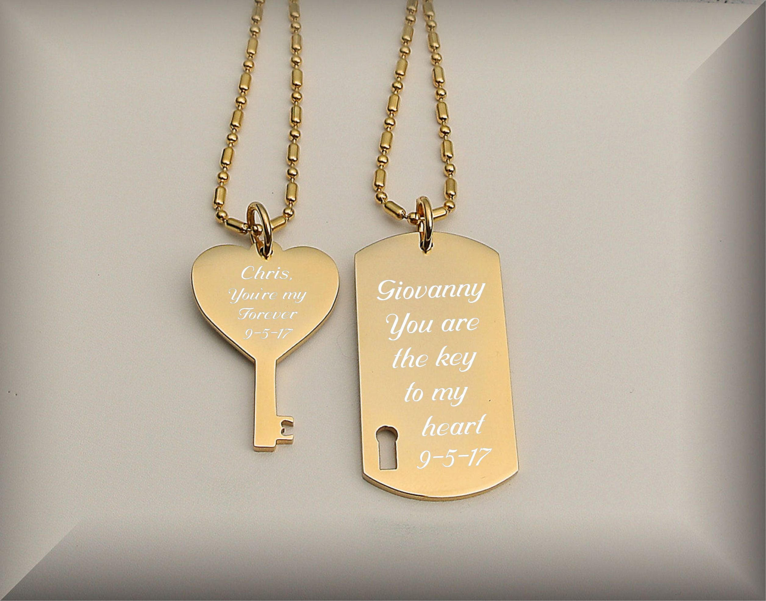 His And Hers Set Couples Jewelry Gold Dog Tag & Heart Key
