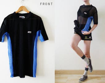 Unisex 80s-90s FILA sporty navy with blue stripe mesh top, see through t-shirt,embroidery logo at front,Fishnet, Athletic, Streetwear, Large