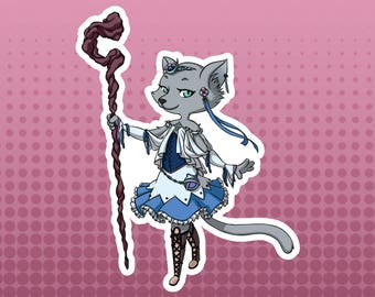 White Mage / Healer Cat - Russian Blue Cat Fantasy Role Playing RPG Class - Large Die Cut Vinyl Sticker, Original Sticker, Original Design