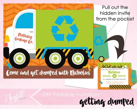 Garbage truck birthday party printable invitation garbage truck il570xn filmwisefo