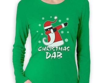 Dabbing Santa Christmas Dab Funny Xmas Women Long Sleeve T-Shirt