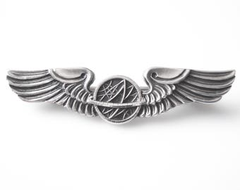 WWII Balfour Sterling Silver USAAF Navigator Wing Pin