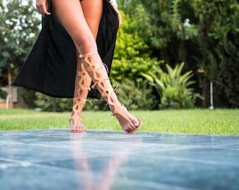 Gladitors, tan gladiator sandals, elegant gladiator sandals,flats, handmade sandals, gladiators, handmade feminine gladiator sandals, EU 36