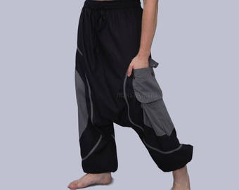 Men's Harem Pants- Aladdin Trousers - Afghani Pants - Alibaba Pants - Men - Women - Cotton