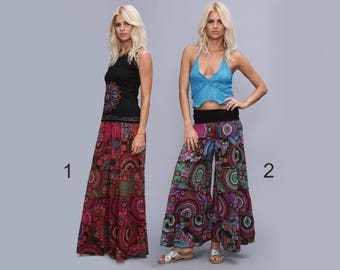 Wide patchwork  Pants, Summer bell bottom pants, hippie