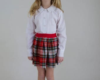 SALE Vintage 60s/70s girls white blouse. Girls Peter Pan collar blouse. Girls button down blouse. Kids white l/s shirt. Mad Men style. Size