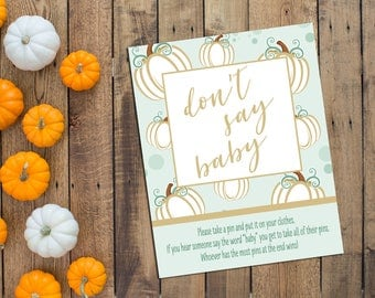 Dont Say Baby Game - Little Pumpkin Baby Shower Game - Fall Baby Shower - Pumpkin - Green and Gold - INSTANT DOWNLOAD - Printable