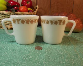 """Vintage PYREX Butterfly Gold """"D"""" Handle Coffee Cup ~ Mug ~ Tea"""