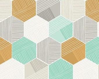 Baby Bedding Crib Bedding - Honeycomb, Mint, Gold, Gray, Geometric - Baby Blanket, Crib Sheet, Crib Skirt, Changing Pad Cover, Boppy Cover