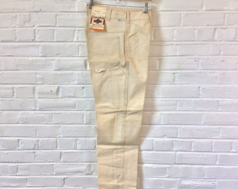 Vintage 1970s 1980s NOS Natural Cotton Painter Carpenter Pants by Cherokee. Marked Size 32x30
