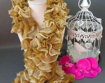 Fancy scarf * ONDAS * ecru beige * 100 g * length 110 cm