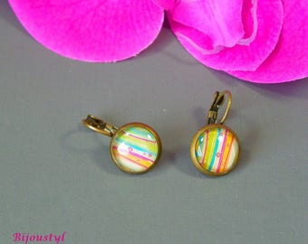"Stud Earrings - 12 mm Cabochon - Image ""Multicolor stripe"""