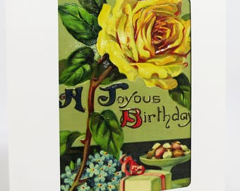Happy Birthday Card Featuring Antique Postcard With A Joyous Birthday Message and Beautifully Embossed Yellow Rose Blossom