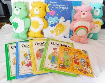 vintage CARE BEARS LOT 4 stuffed bears + 6 books