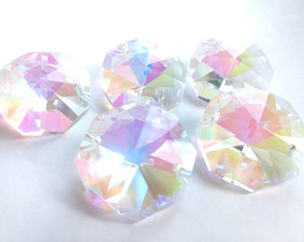 5 Iridescent AB 30mm Octagon Chandelier Crystals