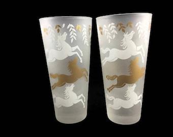 Vintage Cavalcade Tumblers * Set of 2 Libby Liquor Glasses * Prancing Horses Barware