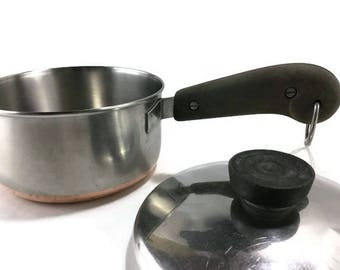 Vintage Revere Ware 1 Quart Saucepan and Lid * Process Patent Circle Logo * Copper and Stainless Cookware * Sauce Pan