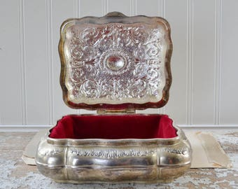 Vintage Silver Metal Jewelry Casket Box - Red Velvet Lining