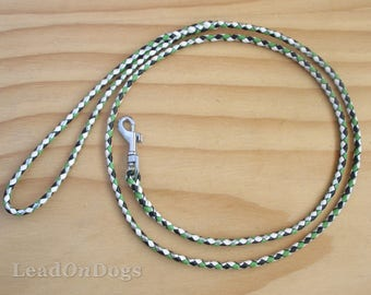 Lace Dog Show Leash Braided in Hunter Green, Apple Green, Silver & White Kangaroo Leather Lace with Small Clip - Lead On Jeddah