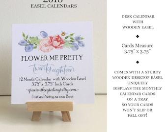 2018 Calendar | 2018 Desk Calendar with Wooden Stand | 2018 Calendar with Easel Stand | 2018 Calendar | 2018 Floral Desk Calendar