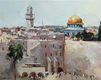 "Original oil painting Western Wall in Jerusalem, Israel 23.6"" x 31.5"" Landscape, Ready to hang, Fine art by Valiulina"