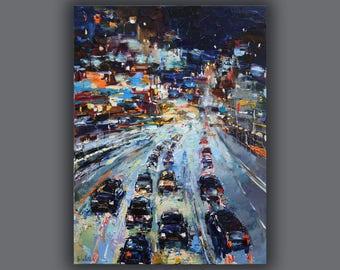Traffic lights City scape Night oil painting Street scene City lights Cityscape painting Landscape Impasto painting Urban canvas art