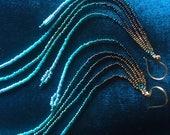 "Gold, Deep Blue Ocean Sky Fade 7"" Long Seed Bead Earrings"
