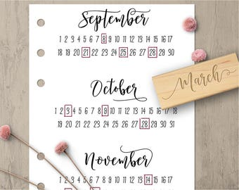 Month Planner Stamps, Bullet Journal Stamps, Calendar Stamp, Month Rubber Stamp Set, Modern Calligraphy Stamps, Notebook Planning Stamps 144