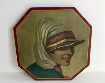 Beautiful Dutch Octagon Painting / Artwork / Portrait by Vermeer Wall Hanging