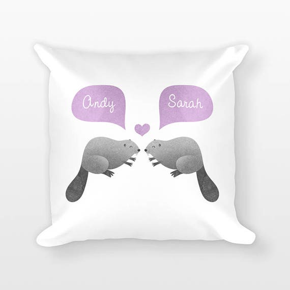 BEAVER Pillow, Animal Couple Pillow, Personalized Pillow, Unique Wedding Gift for Couple, Custom Throw Pillow, Decorative Pillow for Couch