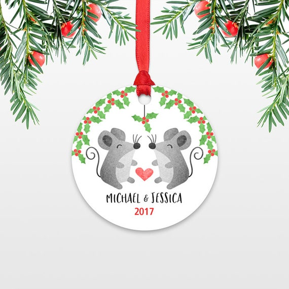 Personalized Christmas Ornaments, Mice Mouse Couple Engaged Christmas Ornament, Engagement Ornament, Wedding Ornament Christmas Decoration
