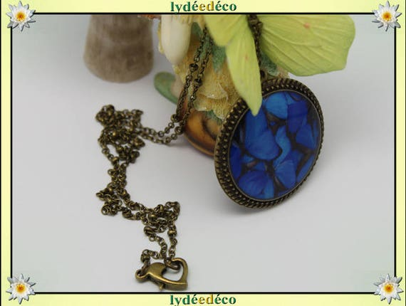 Necklace vintage retro blue grey Butterfly resin and brass Locket 25mm heart clasp ball chain