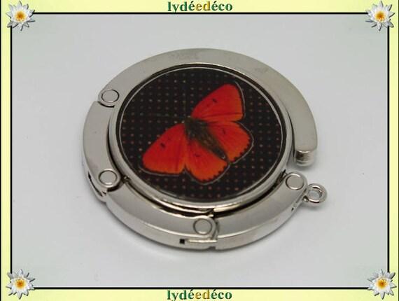 Bag retro butterflies red and black resin on metal silver hook