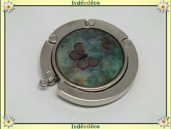 Melon green and Brown retro Butterfly handbag resin on metal silver