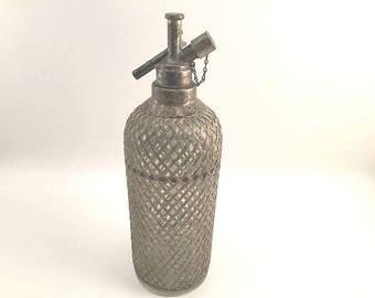 Seltzer Bottle,  Vintage Bottle, Art Deco Bar, Czechoslovakia, Silver Bottle, Vintage Bar, Bar Accessory, Drink Bottle, Antique Bottle