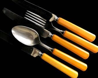 Vintage Bakelite Flatware Set Butterscotch 1940s Vintage Kitchen Bakelite Five Pieces Antique Cutlery Silverware Retro Kitchen