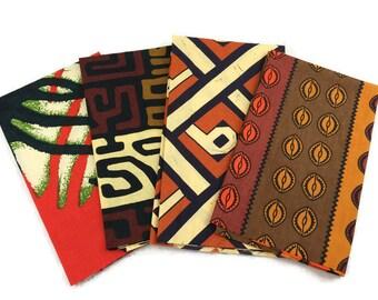 African Graphic Print Fabric--FAT QUARTER BUNDLE--Earth Tones Prints--Assorted Color/Assorted Patterns Prints--4-Pack Fat Quarter Bundle