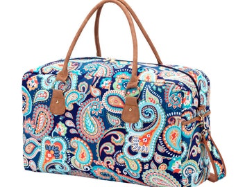 Large Weekender Bag in Emerson Paisley. Personalized FREE just for you.