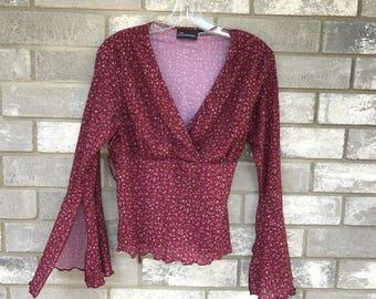hippie boho maroon floral whispy flower blouse