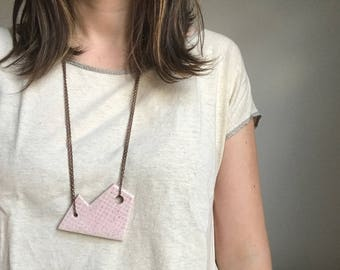 Pink Ceramic Necklace with Antiqued Copper Chain