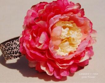 Modern leopard dog collar,cute big flower dog collar.party dog collar.rose pink flower dog collar.pet gift, Pet Birthday