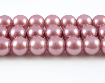 8mm Rose Pearl Beads, Faux Pearl Glass - 1 strand (fp09)