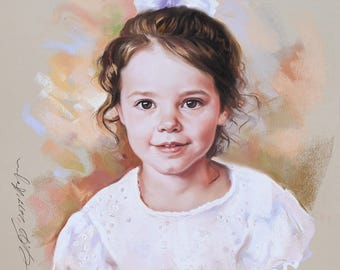 Custom Portrait, Pastel portrait of a girl from photography. Handmade portrait, Commission portrait on Pastel of a really sweet little girl