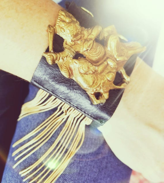 Leather and Mixed Metal Fringed Cuffs