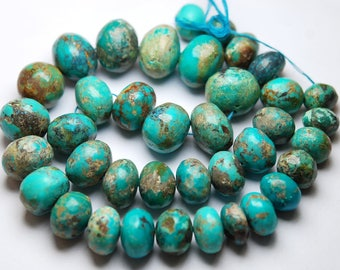 16 Inches Strand,665 Carats,Natural Arizona TURQUOISE Smooth Rondelles Size 11-23mm