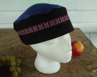 Royal Blue and Black 100%I Linen Migba'ah Turban Cap for Men