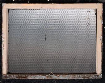 "6 avail 44""W Antique Vintage Steel Clad Wooden Window Chickenwire Textured Glass"